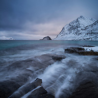 Incoming waves at Haukland beach, Vestvågøy, Lofoten Islands, Norway
