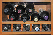 Stack of Wine bottles stored flat