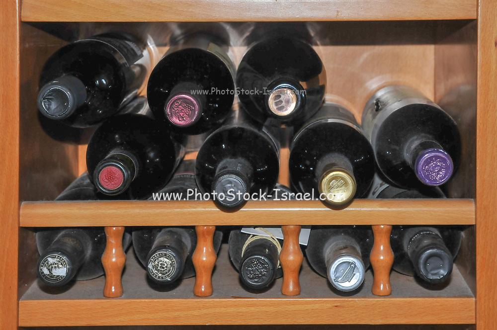 Stack of Wine bottles stored flat