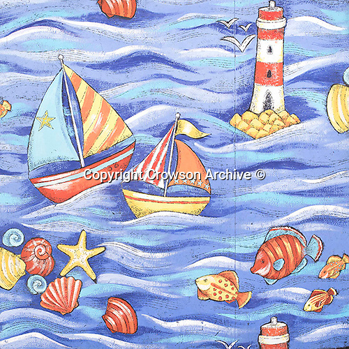 Designer: Decorative Designs Studios<br /> Brand: Crowson<br /> Production Design Name: Shell boats and Fish<br /> Design Period: 20th century <br /> Date of Production: N/A<br /> Production Reference: N/A<br /> Place of Origin: Uk<br /> Pattern Repeat Inches: 25 x 25<br /> Pattern Repeat CM: 63.50 x 63.50<br /> Width of Design inches: 54<br /> Width of Design CM: 137.16<br /> Half Drop: Yes                        <br /> Number Of Colours: 11<br /> Materials and Techniques: paint on paper<br /> Style: Kids<br /> Location / Drawer: Kids Drawer<br /> Raw File Name: DECORATIVE_DESIGNS_STUDIOS-01