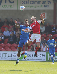 Ivan Toney of Peterborough United challenges for the ball with James Husband of Fleetwood Town - Mandatory by-line: Joe Dent/JMP - 19/04/2019 - FOOTBALL - Highbury Stadium - Fleetwood, England - Fleetwood Town v Peterborough United - Sky Bet League One