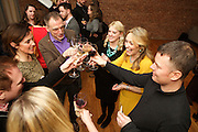 New York, NY - March 12, 2015: Guests toasting at the New York City press preview for the Ballymaloe Literary Festival of Food and Wine, hosted by Irish celebrity chef Darina Allen.<br /> <br /> CREDIT: Clay Williams for Ballymaloe Literary Festival.<br /> <br /> © Clay Williams / claywilliamsphoto.com