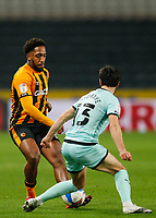 Hull City's Mallik Wilks tries to nutmeg Rochdale's Jimmy Keohane<br /> <br /> Photographer Lee Parker/CameraSport<br /> <br /> The EFL Sky Bet League One - Hull City v Rochdale - Tuesday 2nd March 2021 - KCOM Stadium - Kingston upon Hull<br /> <br /> World Copyright © 2021 CameraSport. All rights reserved. 43 Linden Ave. Countesthorpe. Leicester. England. LE8 5PG - Tel: +44 (0) 116 277 4147 - admin@camerasport.com - www.camerasport.com