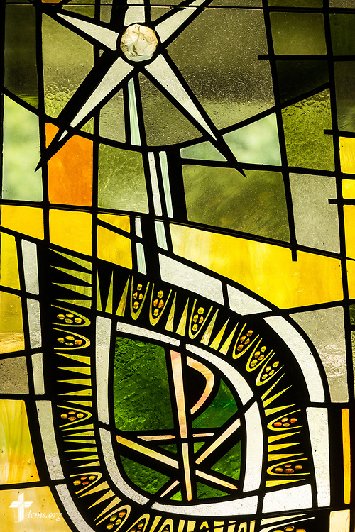 Stained glass depicting the Chi Rho on Sunday, Aug. 2, 2020, at Elm Grove Lutheran Church, Elm Grove, Wis. LCMS Communications/Erik M. Lunsford