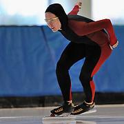 September 18, 2010 - Kearns, Utah - Liz Lobby races in long track speedskating time-trials held at the Utah Olympic Oval.