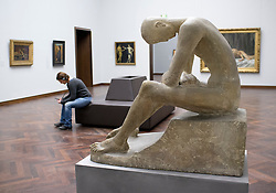 Sculpture Seated Youth by Wilhelm Lehmbruck at Stadel Museum in Frankfurt Germany