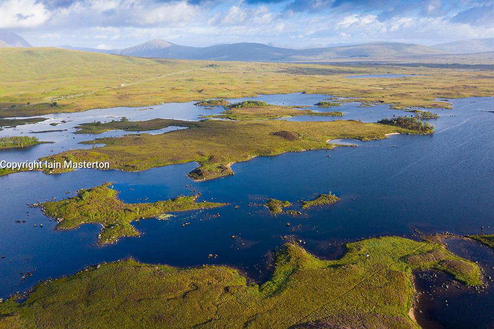 Aerial view of Loch Ba on Rannoch Moor in summer, Scotland, UK