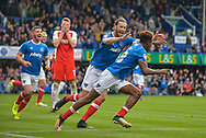 Portsmouth Forward, Jamal Lowe (18) scores a headed goal to make it 2-1 turns to celebrate during the EFL Sky Bet League 1 match between Portsmouth and Fleetwood Town at Fratton Park, Portsmouth, England on 16 September 2017. Photo by Adam Rivers.