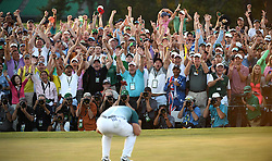 April 9, 2017 - Augusta, Georgia, U.S. - SERGIO GARCIA reacts as he wins the green jacket of a Masters champion following a one-hole playoff. (Credit Image: © Jeff Siner/TNS via ZUMA Wire)