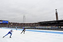 10-03-2018 SCHAATSEN: WORLD ALLROUND SPEEDSKATING CHAMPIONSHIPS AMSTERDAM<br /> Havard Bokko (NOR)  en Antoine Gelinas-Beaulieu CAN<br /> <br /> Foto: Soenar Chamid