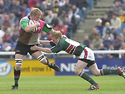 Twickenham, Surrey, England,  UK., 14/05/2003  Tiger's Sam Vesty  tackles Simon Miall , during, the Zurich Premiership Rugby match, NEC Harlequins vs Leicester Tigers, played at the Stoop Memorial Ground, [Mandatory Credit: Peter Spurrier/Intersport Images]