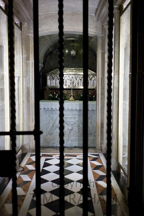 Crypt of Saint James relics in Roman Catholic cathedral, Catedral de Santiago de Compostela, Galicia, Spain