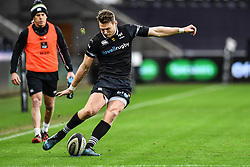 Ospreys' Dan Biggar converts his sides first try<br /> <br /> Photographer Craig Thomas/Replay Images<br /> <br /> Guinness PRO14 Round 13 - Ospreys v Cardiff Blues - Saturday 6th January 2018 - Liberty Stadium - Swansea<br /> <br /> World Copyright © Replay Images . All rights reserved. info@replayimages.co.uk - http://replayimages.co.uk