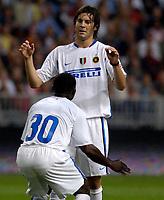Photo: Daniel Hambury.<br />Ajax v Inter Milan. Amsterdam Tournament. <br />04/08/2006.<br />Inter's Santiago Solari celebrates his goal with team mate Obafemi Martins.