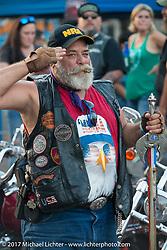 Air Force veteran Steven Littleton of Santa Fe, TX on the Strand during the Lone Star Rally. Galveston, TX. USA. Sunday November 5, 2017. Photography ©2017 Michael Lichter.