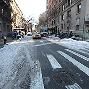 Near empty streets are seen in the Manhattan borough of New York on Thursday, Jan. 23, 2014. A recent snow storm created by a polar vortex, dumped almost a foot of snow in some areas of New York City, followed by bitter cold. The NFL plans on featuring the Super Bowl at MetLife stadium in New Jersey on February 3rd amid growing concerns about more snow and bitter cold arriving just prior to the game.  (AP Photo/Alex Menendez)