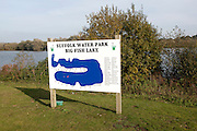 Sign showing map of Big Fish lake at Suffolk water park, Bramford, Suffolk, England, UK