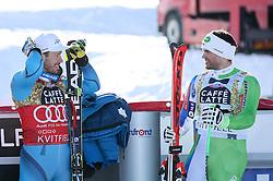 24.02.2017, Kvitfjell, NOR, FIS Weltcup Ski Alpin, Kvitfjell, Abfahrt, Herren, im bild  third placed Kjetil Jansrud of Norway  and  Winner Boštjan Kline of Slovenia at trophy ceremony after the men's downhill of FIS Ski Alpine World Cup at the Kvitfjell, Norway on 2017/02/24. PhotoCredit: Jonnas Ericcsson / Sportida