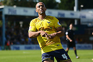 Kemar Roofe celebrates scoring first goal during the Sky Bet League 2 match between Bristol Rovers and Oxford United at the Memorial Stadium, Bristol, England on 6 September 2015. Photo by Alan Franklin.