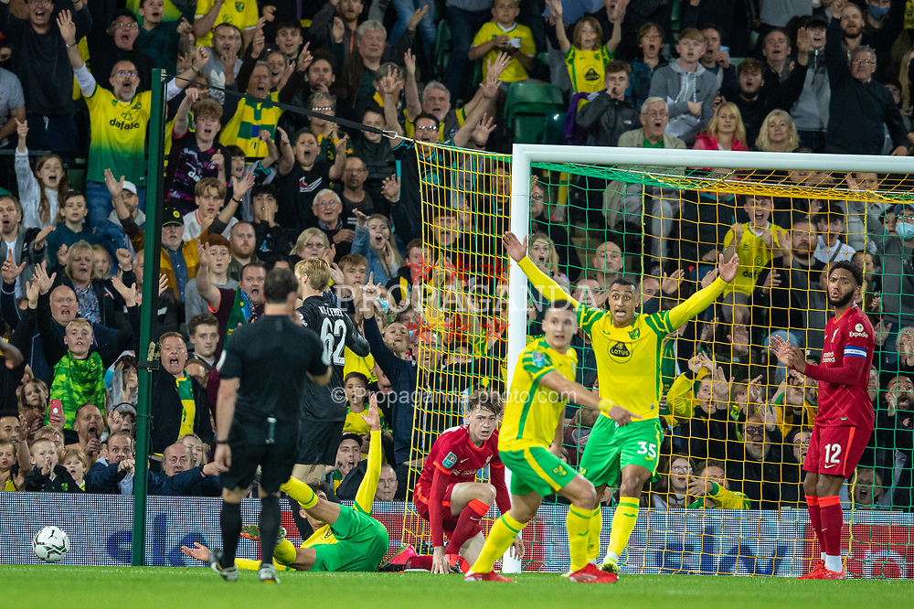 NORWICH, ENGLAND - Tuesday, September 21, 2021: Liverpool's Conor Bradley looks dejected as he concedes a penalty during the Football League Cup 3rd Round match between Norwich City FC and Liverpool FC at Carrow Road. Liverpool won 3-0. (Pic by David Rawcliffe/Propaganda)