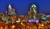 Raleigh, NC featuring downtown landmarks, the NC Museum of Art and Dorton Arena