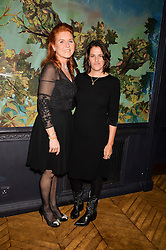 Left to right, SARAH, DUCHESS OF YORK and TRACEY EMIN at an Evening of Riviera Inspired Glamour in aid of CLIC Sargentheld at Sketch, 9 Conduit Street, London on 25th January 2016.