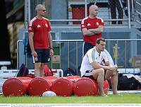 30 May 2013; Injured British & Irish Lions captain Sam Warburton during squad training ahead of their game against Barbarian FC on Saturday. British & Irish Lions Tour 2013, Squad Training, Aberdeen Sports Ground, Aberdeen, Hong Kong, China. Picture credit: Stephen McCarthy / SPORTSFILE