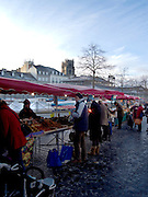 Rennes, FRANCE, General View, GV,  stalls and produce  in Rennes Market, Saturday morning market, Brittany. [2009 Boxing day Market]  Saturday  26/12/2009 [Mandatory Credit Peter Spurrier Intersport Images]