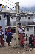 TODOS  SANTOS, Guatemala. Cross marking site of massacre by army under dictator Rios Mont in the civil war. Western Highlands, Huehuetenango, Todos Santos. Mayan traditional festival. Todos Santos Horse Race, the 'Skach Koyl' on All Saints Day 1st November; the 'Day of the dead' November 2nd. Mayan dances about Spanish 'Conquistadores' and Mayan Spirits, accompanied by marimbas take place October 31st.