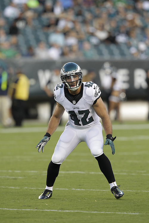 Chris Maragos during a game vs the New York Jets at Lincoln Financial Field on August 28, 2014 in Philadelphia, Pennsylvania. (Photo by Hunter Martin/Philadelphia Eagles