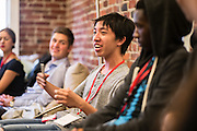 SAN FRANCISCO, CA – AUGUST 31, 2015: College students in the class of 2019 participate in orientation at Minerva.<br /> <br /> Minerva is a unique 21st century university built on a global four-year education model. It is deliberately designed to enhance intellectual growth and prepare students for success in today's rapidly changing global context. Founded in 2014, the university targets the developing world's rising middle class who seek an elite American education. With a 2.8% acceptance rate among the founding class, Minerva is the most selective undergraduate program in U.S. history.