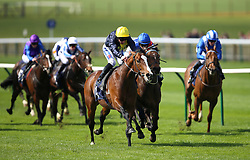Porth Swtan ridden by jockey Paul Hanagan (centre) on his way to winning the Alex Scott Maiden Stakes during day one of The Bet365 Craven Meeting at Newmarket Racecourse, Newmarket.