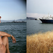Petros from Egaleo, sunbathing in Skaramagas bay. At the background the oil refinery. Skaramagas, Saronic Gulf, West Attica. The Savva ship breaking yard. Elefsina, Saronic Gulf, West Attica.