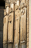 West Facade, Central Portal - Right Jamb Figures- General View c. 1145. Cathedral of Chartres, France . Gothic statues of figures that some scholars believe that the jamb figures are the ancestors of Christ.. A UNESCO World Heritage Site. .<br /> <br /> Visit our MEDIEVAL ART PHOTO COLLECTIONS for more   photos  to download or buy as prints https://funkystock.photoshelter.com/gallery-collection/Medieval-Middle-Ages-Art-Artefacts-Antiquities-Pictures-Images-of/C0000YpKXiAHnG2k