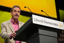 Bournemouth, UK. 15 September, 2019. Chris Davies, Liberal Democrat MEP for the North West of England, speaks on the Stop Brexit motion during the Liberal Democrat Autumn Conference. Following a vote won by an overwhelming majority, the Liberal Democrats pledged to cancel Brexit if they win power at the next general election. This marks a shift in policy from their previous backing for a People's Vote. Credit: Mark Kerrison/Alamy Live News