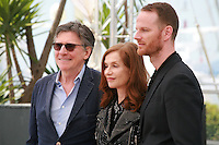 Actor Gabriel Byrne, actress Isabelle Huppert and director Joachim Trier at the Louder Than Bombs film photo call at the 68th Cannes Film Festival Monday May 18th 2015, Cannes, France.