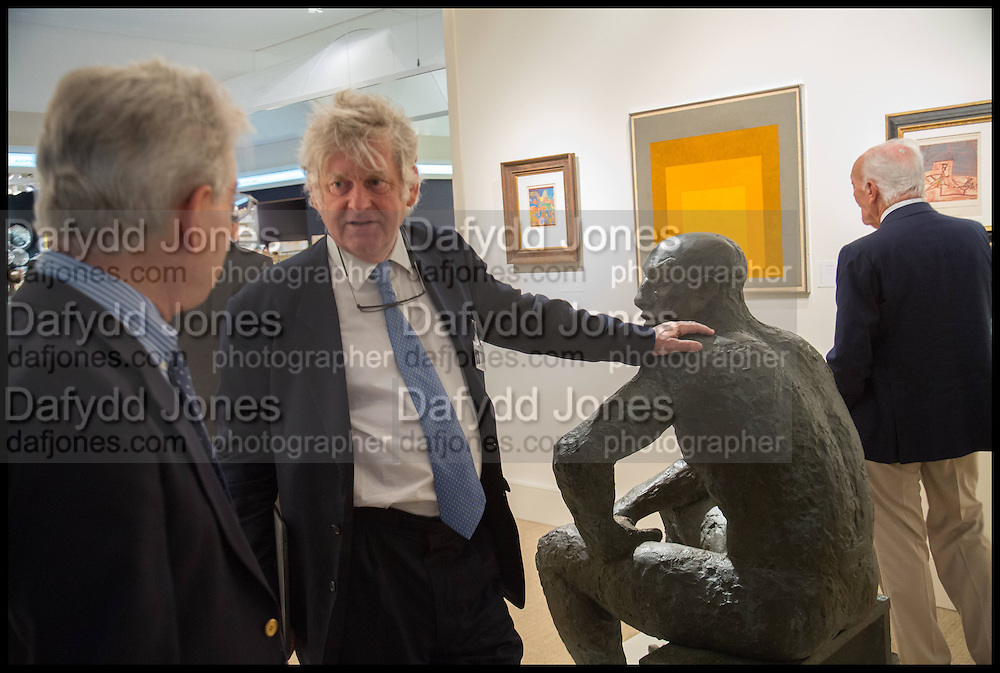 SIMON DICKINSON; SCULPTURE BY ELIZABETH FRINK, Masterpiece London 2014 Preview. The Royal Hospital, Chelsea. London. 25 June 2014.