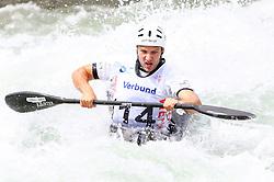 27.06.2015, Verbund Wasserarena, Wien, AUT, ICF, Kanu Wildwasser Weltmeisterschaft 2015, K1 men, im Bild Tim Kolar (SLO) // during the final run in the men's K1 class of the ICF Wildwater Canoeing Sprint World Championships at the Verbund Wasserarena in Wien, Austria on 2015/06/27. EXPA Pictures © 2014, PhotoCredit: EXPA/ Sebastian Pucher