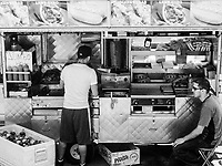 Street vendor's food cart, Central Park West, New York City.