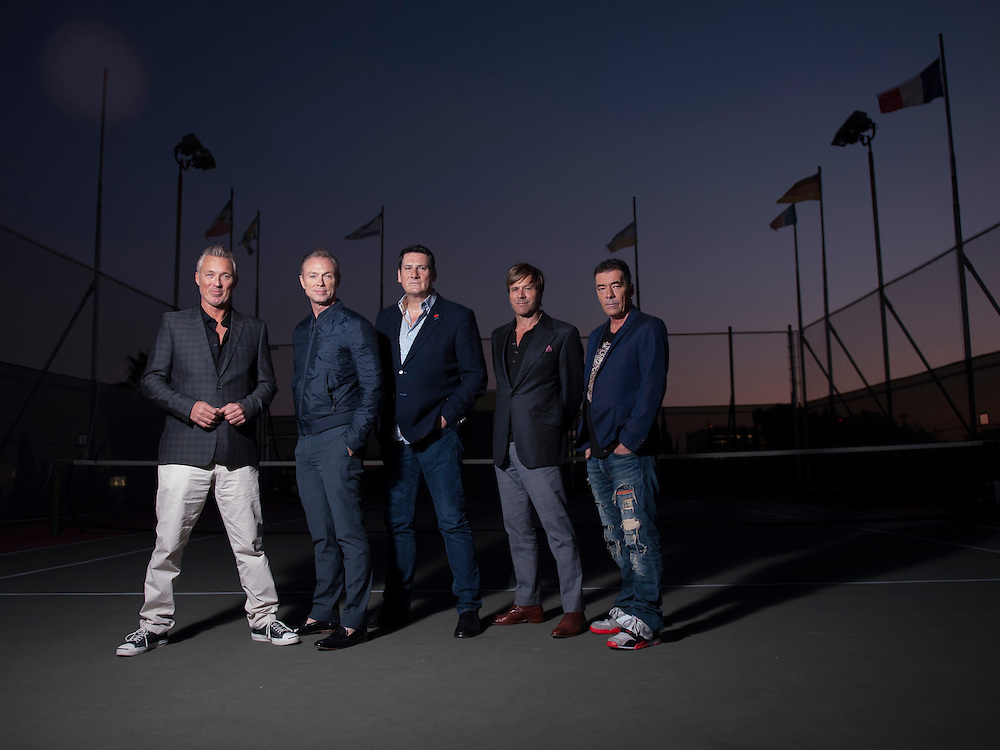 """British New Romantic Band Spandau Ballet, Martin Kemp, left, Gary Kemp, Tony Hadley, Steve Norman and John Keeble, have reunited and will be performing at the Wiltern in January on their """"Soul Boys Of The Western World"""" tour."""
