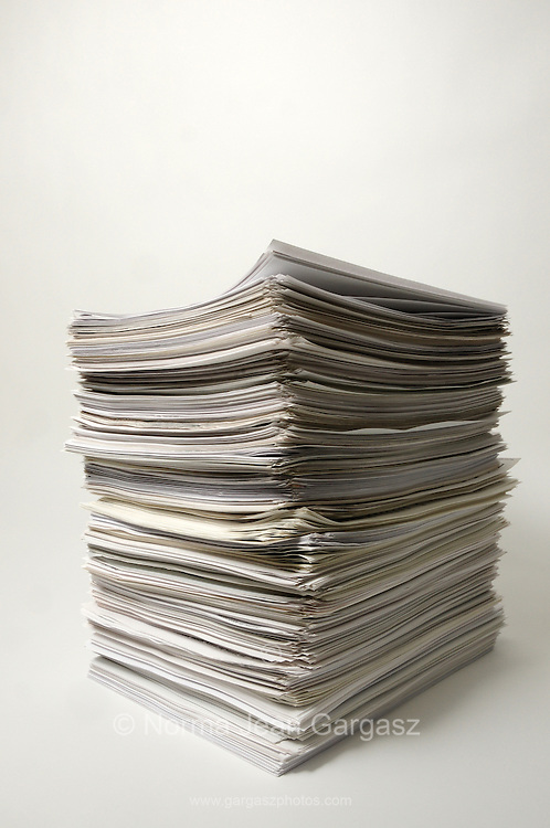 A stack of white sheets of paper.