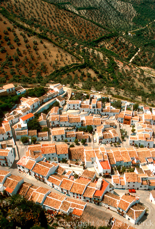 SPAIN, ANDALUSIA ZAHARA; a picturesque 'pueblo blanco' or white village, near Ronda view from the castle above town