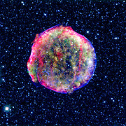 A composite image of the Tycho supernova remnant. Spitzer and Chandra space observatories. It shows the scene more than four centuries after the star explosion.