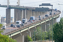 ©Licensed to London News Pictures 11/05/2020  <br /> Dartford, UK. Traffic on the Queen Elizabath II bridge in Dartford, Kent.  More cars on the roads as people start to get back to work from Coronavirus lockdown.Photo credit:Grant Falvey/LNP