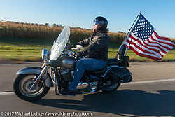 Riding a Kawasaki Vulcan in the USS South Dakota submarine flag relay across South Dakota. Groton, SD. USA. Sunday October 8, 2017. Photography ©2017 Michael Lichter.