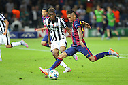 Barcelona Neymar shoots and scores during the Champions League Final between Juventus FC and FC Barcelona at the Olympiastadion, Berlin, Germany on 6 June 2015. Photo by Phil Duncan.