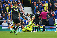Diego Costa of Chelsea receives a yellow card from referee Jonathan Moss after fouling Everton Goalkeeper Maarten Stekelenburg.  Premier league match, Everton v Chelsea at Goodison Park in Liverpool, Merseyside on Sunday 30th April 2017.<br /> pic by Chris Stading, Andrew Orchard sports photography.