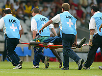 Fotball<br /> LYON FRANCE 26/06/03 FIFA CONFEDERATIONS CUP<br /> MARC VIVIEN FOE IS STRETCHERED OFF AFTER COLLAPSING DURING THE KAMERUN V COLUMBIA MATCH. HE DIED LATER. <br /> Photo Masahide Tomokoshi/Digitalsport