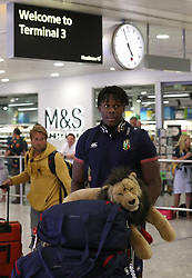 British and Irish Lions Maro Itoje arrives at Heathrow Airport as the British and Irish Lions return to the UK following their series draw with New Zealand.
