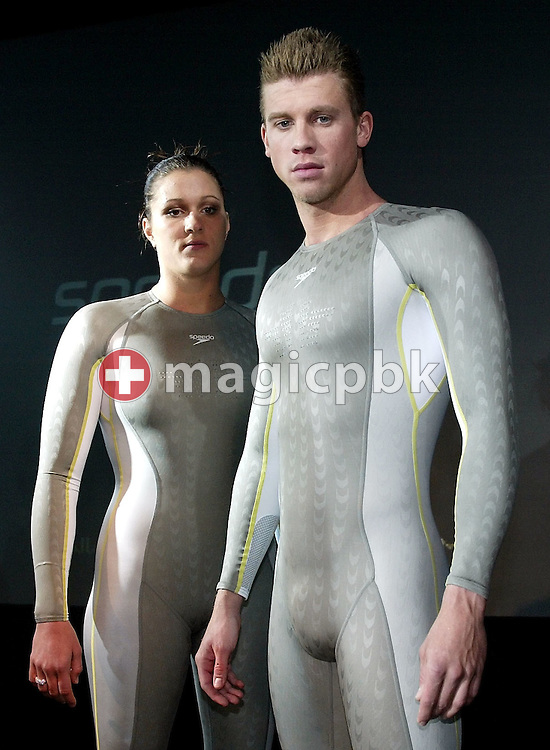 Hannah STOCKBAUER (L) and Thomas RUPPRATH of Germany pose in the new Speedo FASTSKIN FSII (FS2) swim suit on Tuesday, March 9, 2004, at the launch party in London. (Photo by Patrick B. Kraemer/MAGICPBK)